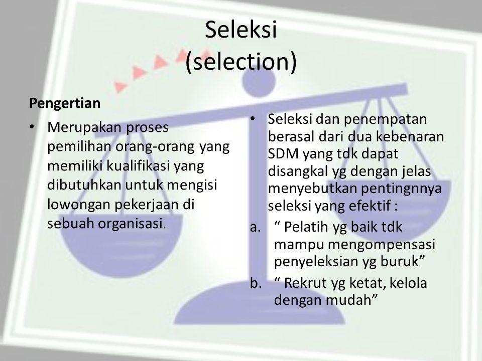 Seleksi (selection) Pengertian