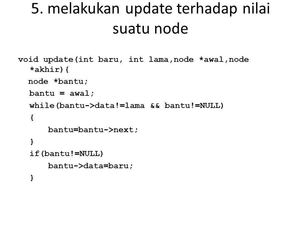 5. melakukan update terhadap nilai suatu node