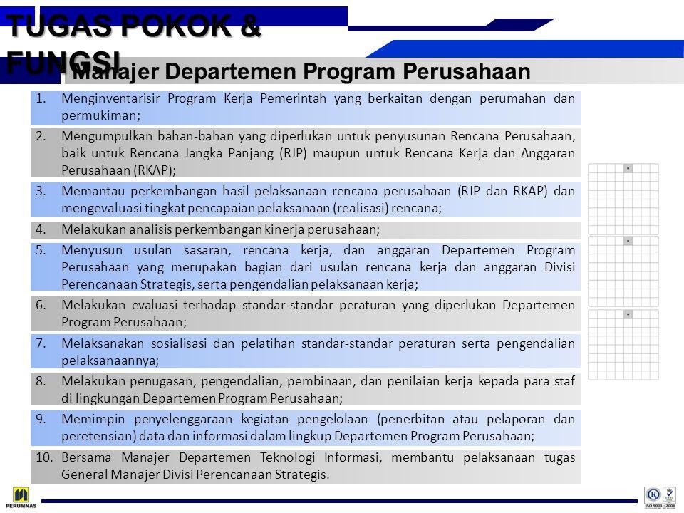 TUGAS POKOK & FUNGSI Manajer Departemen Program Perusahaan