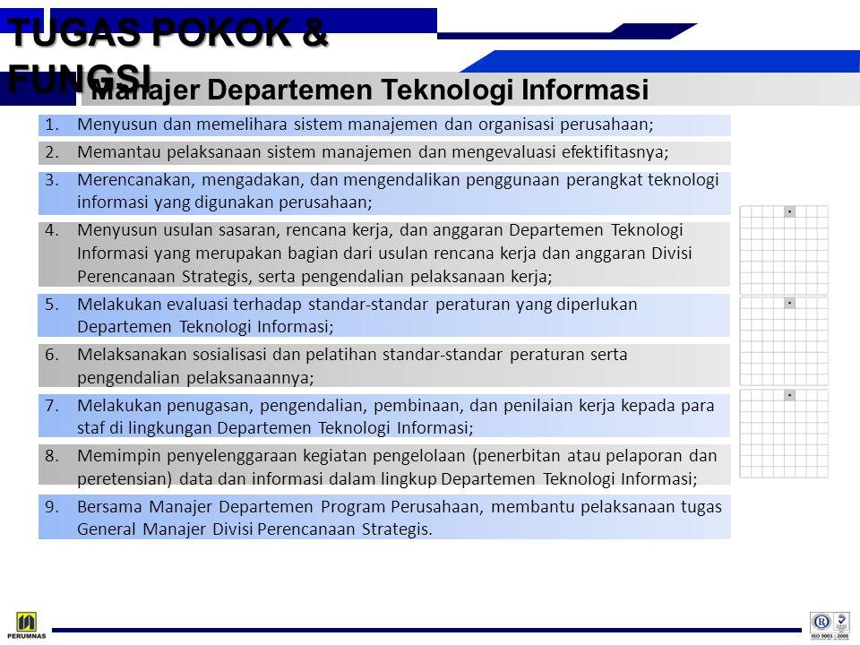 TUGAS POKOK & FUNGSI Manajer Departemen Teknologi Informasi