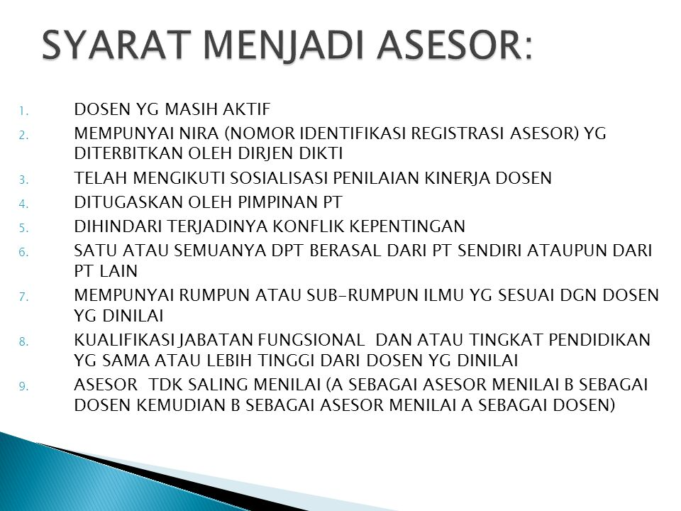 SYARAT MENJADI ASESOR: