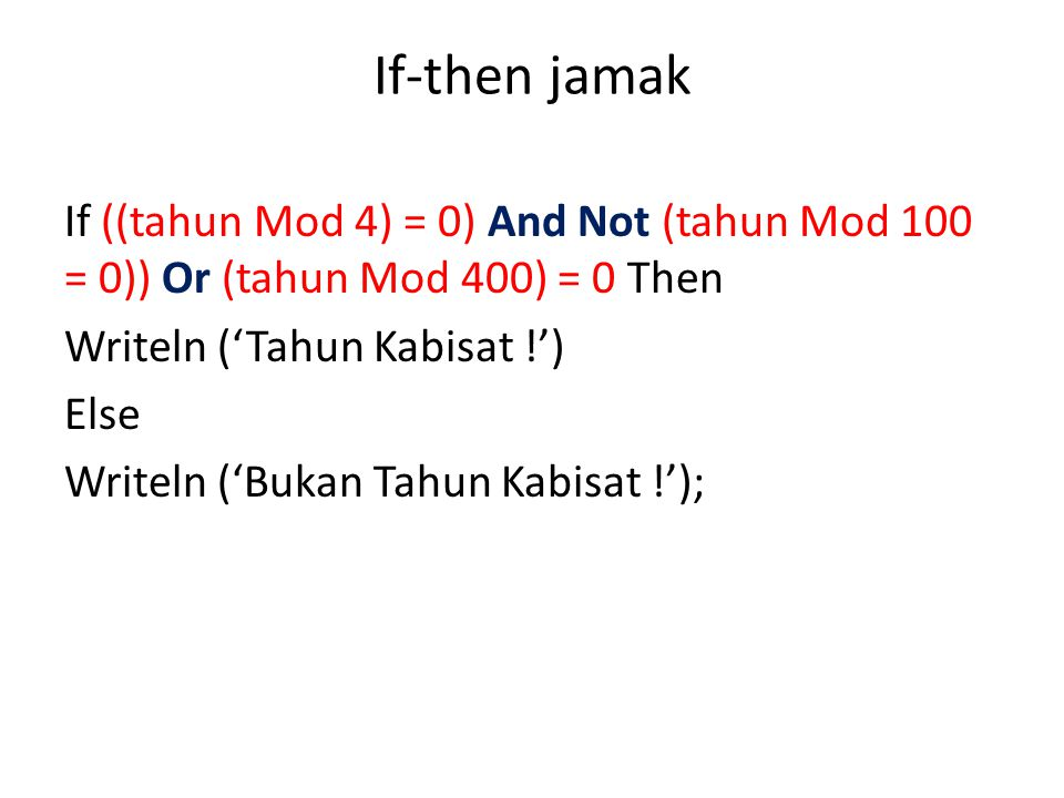 If-then jamak