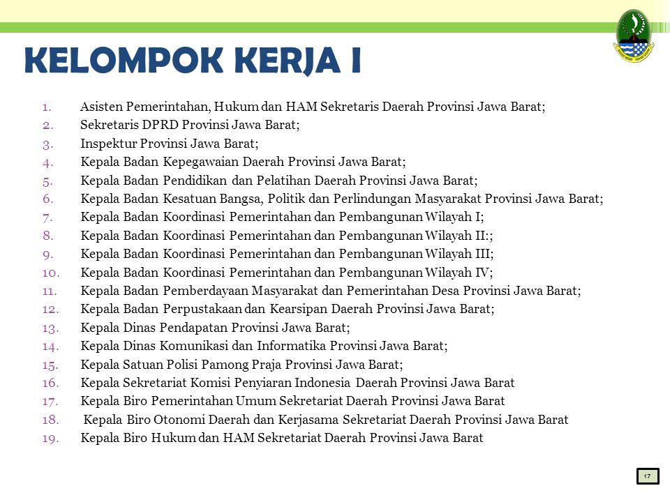 KELOMPOK KERJA I Asisten Pemerintahan, Hukum dan HAM Sekretaris Daerah Provinsi Jawa Barat; Sekretaris DPRD Provinsi Jawa Barat;