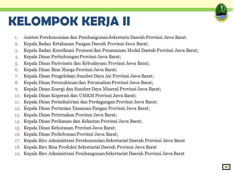 KELOMPOK KERJA II Asisten Perekonomian dan Pembangunan Sekretaris Daerah Provinsi Jawa Barat.