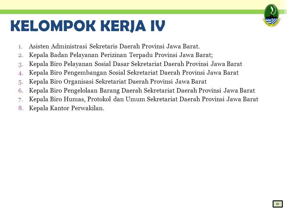 KELOMPOK KERJA IV Asisten Administrasi Sekretaris Daerah Provinsi Jawa Barat. Kepala Badan Pelayanan Perizinan Terpadu Provinsi Jawa Barat;