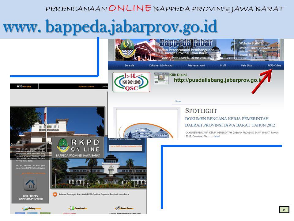 PERENCANAAN ONLINE BAPPEDA PROVINSI JAWA BARAT www. bappeda. jabarprov