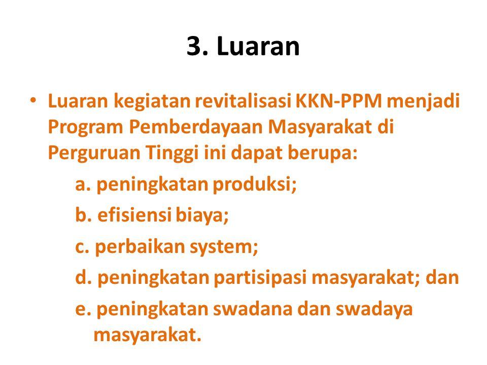 3. Luaran Luaran kegiatan revitalisasi KKN-PPM menjadi Program Pemberdayaan Masyarakat di Perguruan Tinggi ini dapat berupa: