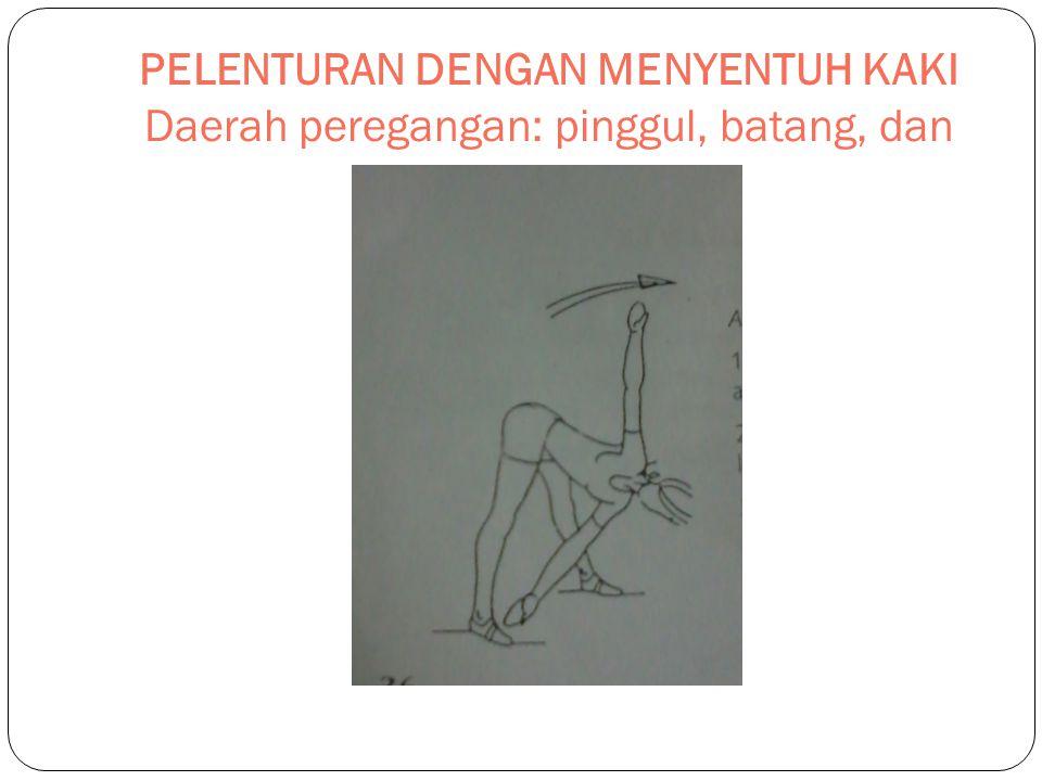 PELENTURAN DENGAN MENYENTUH KAKI Daerah peregangan: pinggul, batang, dan paha belakang