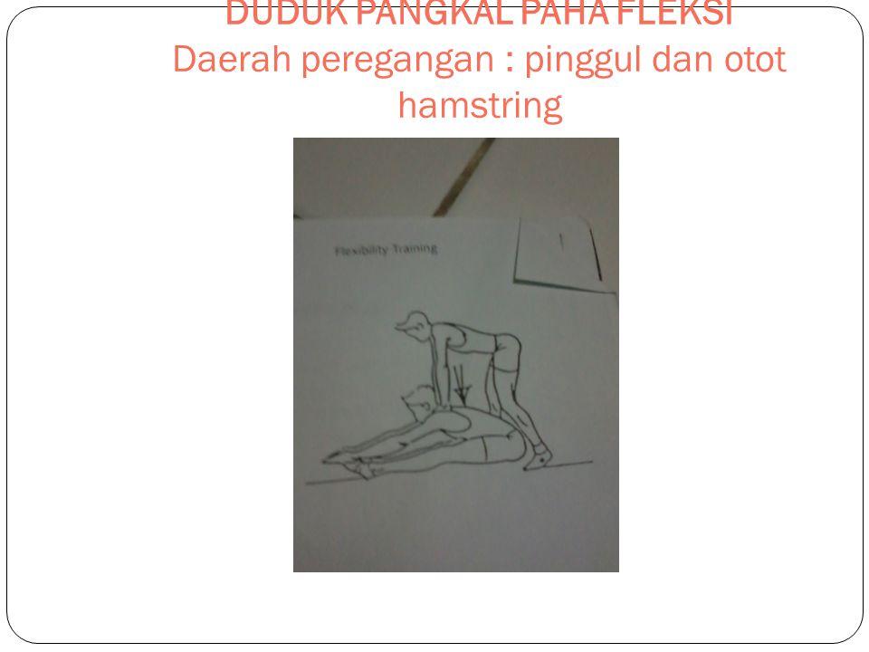 DUDUK PANGKAL PAHA FLEKSI Daerah peregangan : pinggul dan otot hamstring
