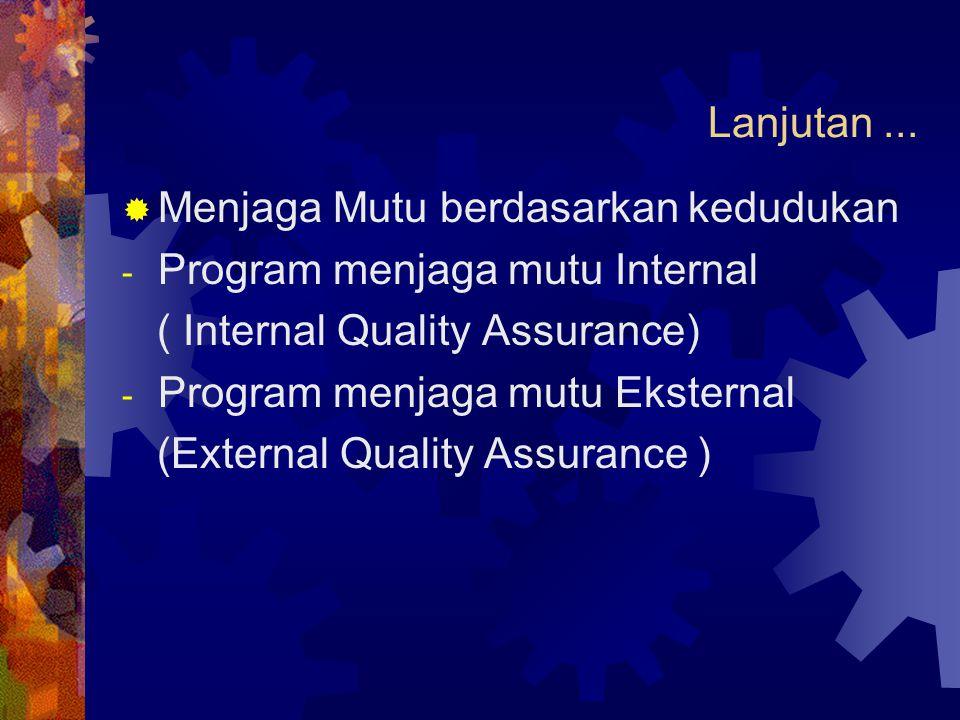 Lanjutan ... Menjaga Mutu berdasarkan kedudukan. Program menjaga mutu Internal. ( Internal Quality Assurance)