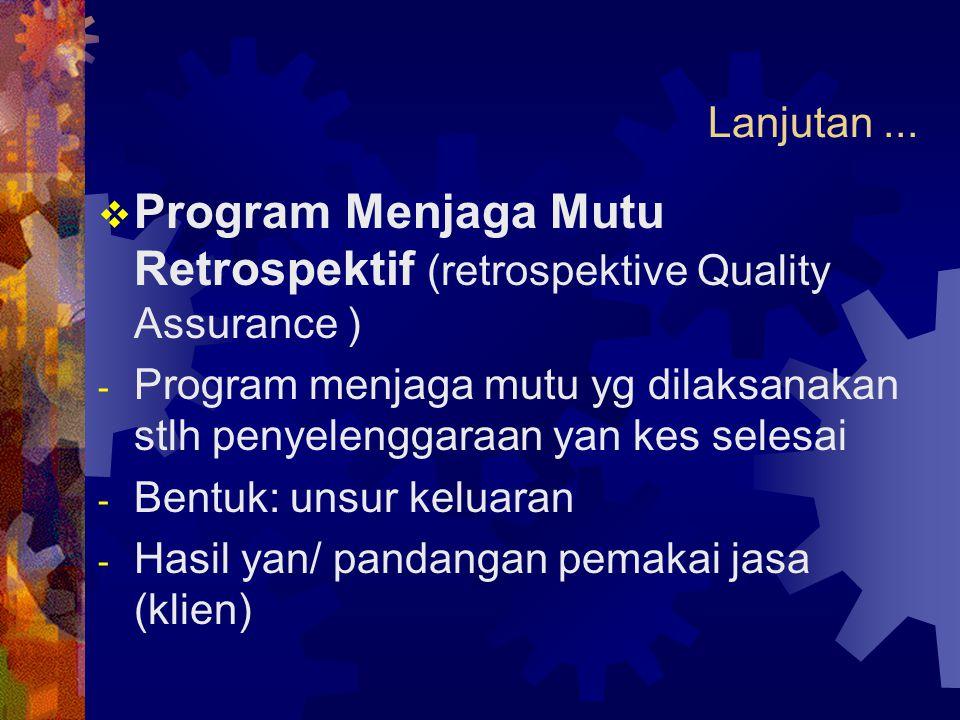 Program Menjaga Mutu Retrospektif (retrospektive Quality Assurance )