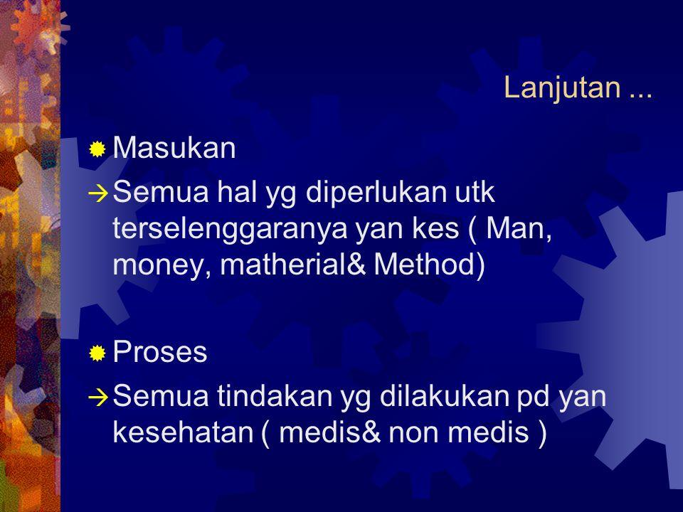 Lanjutan ... Masukan. Semua hal yg diperlukan utk terselenggaranya yan kes ( Man, money, matherial& Method)
