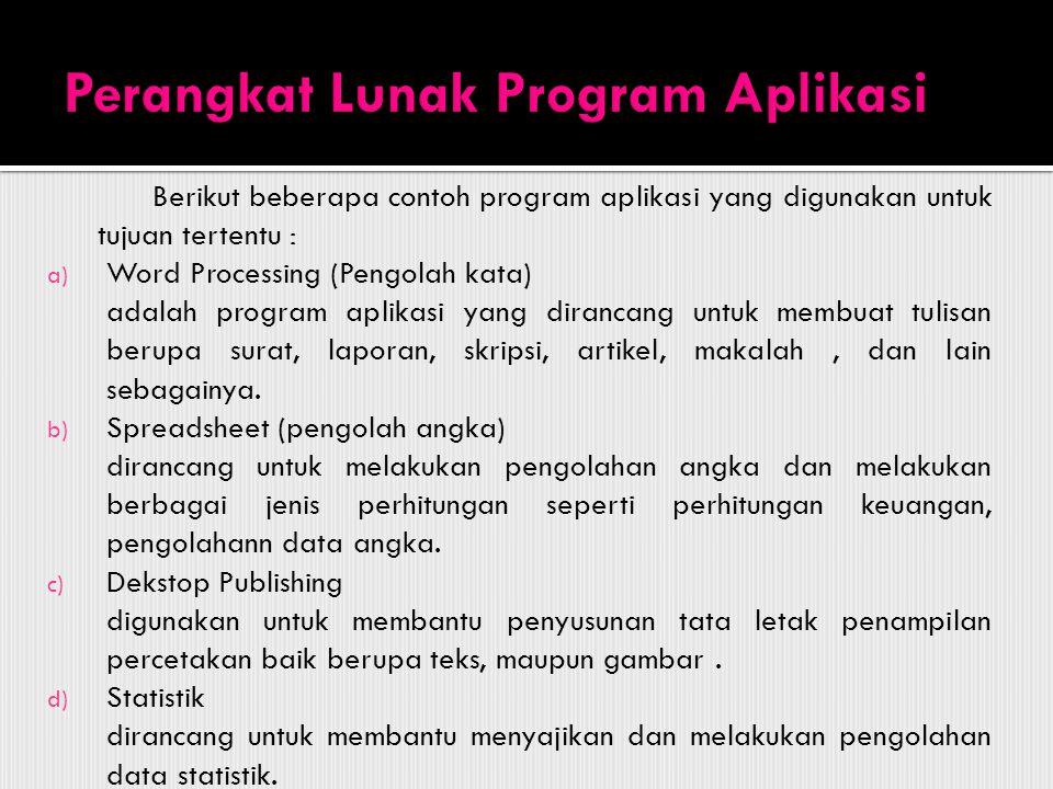 Perangkat Lunak Program Aplikasi