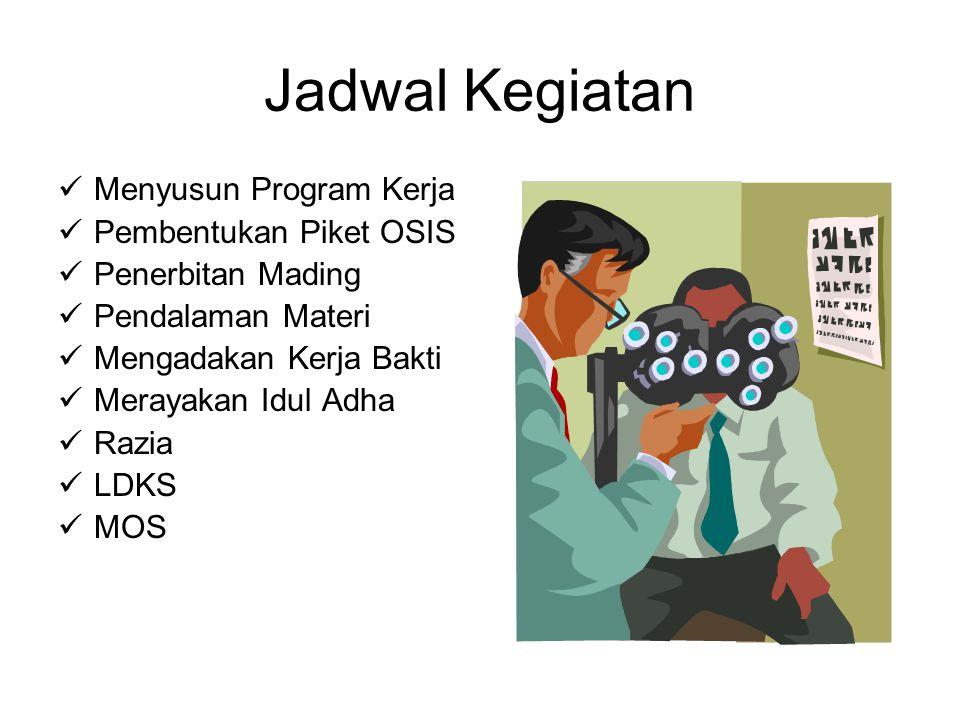 Jadwal Kegiatan Menyusun Program Kerja Pembentukan Piket OSIS