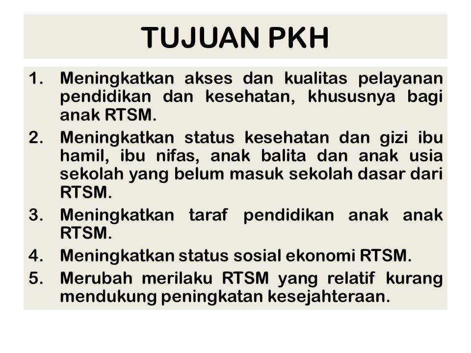 TUJUAN PKH Meningkatkan akses dan kualitas pelayanan pendidikan dan kesehatan, khususnya bagi anak RTSM.