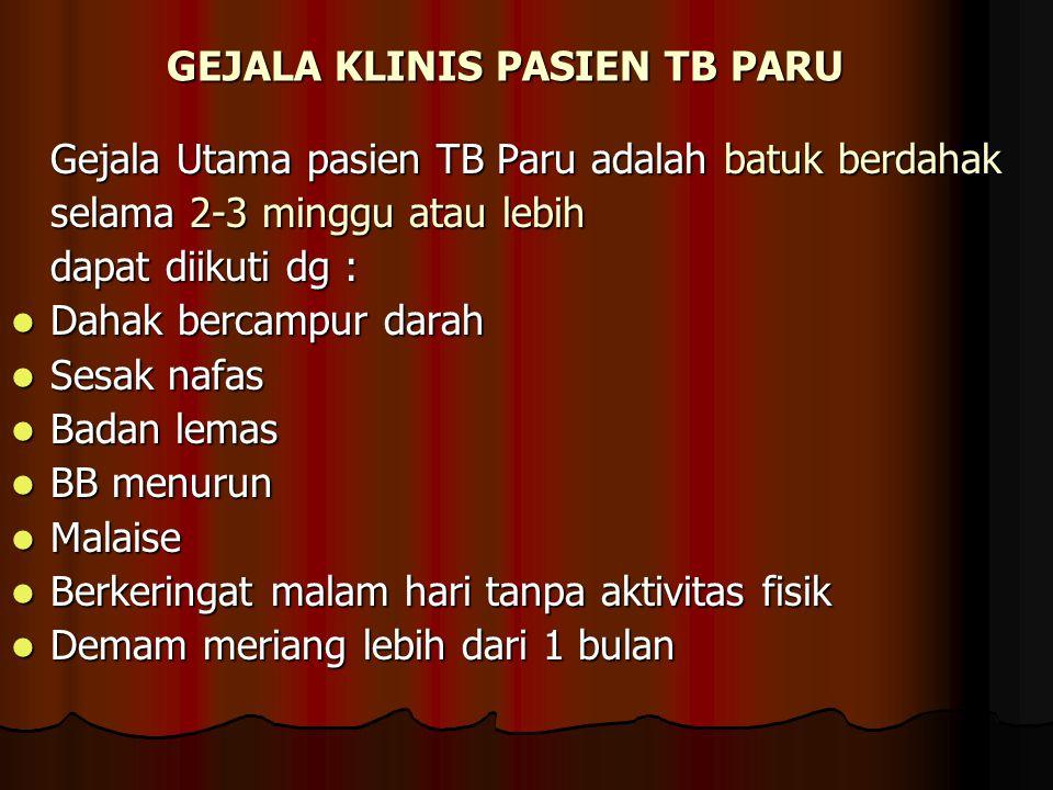 GEJALA KLINIS PASIEN TB PARU
