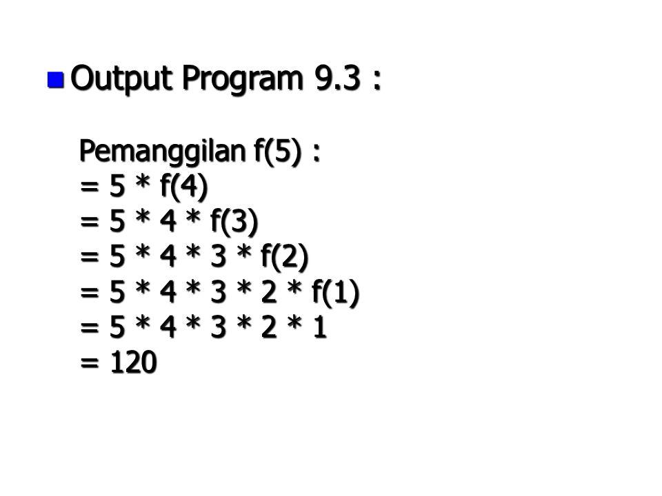 Output Program 9.3 : Pemanggilan f(5) : = 5 * f(4) = 5 * 4 * f(3)