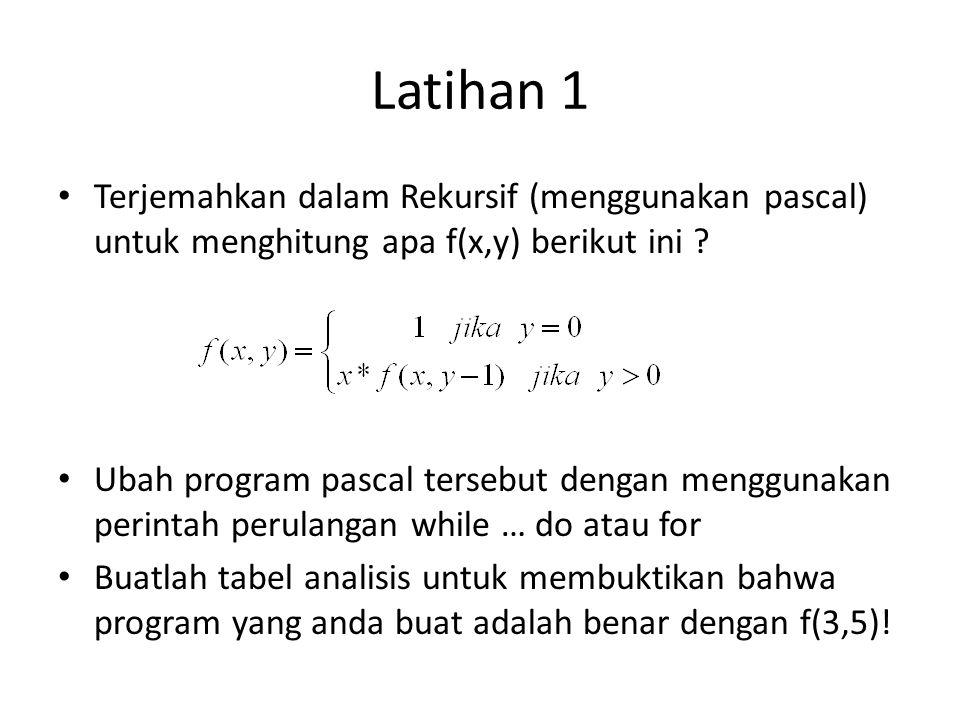 Latihan 1 Terjemahkan dalam Rekursif (menggunakan pascal) untuk menghitung apa f(x,y) berikut ini