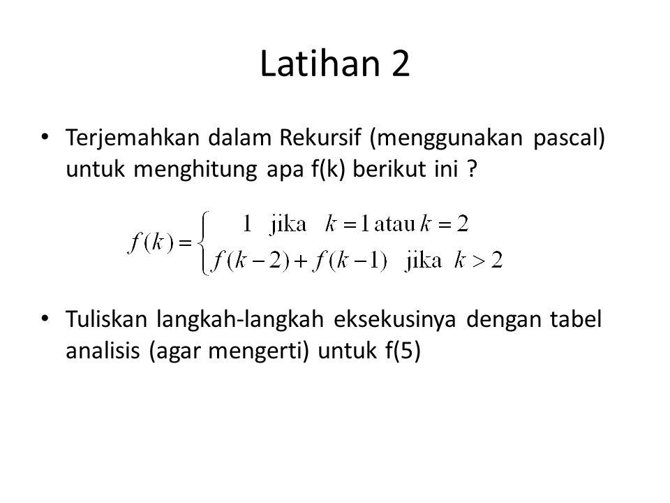 Latihan 2 Terjemahkan dalam Rekursif (menggunakan pascal) untuk menghitung apa f(k) berikut ini