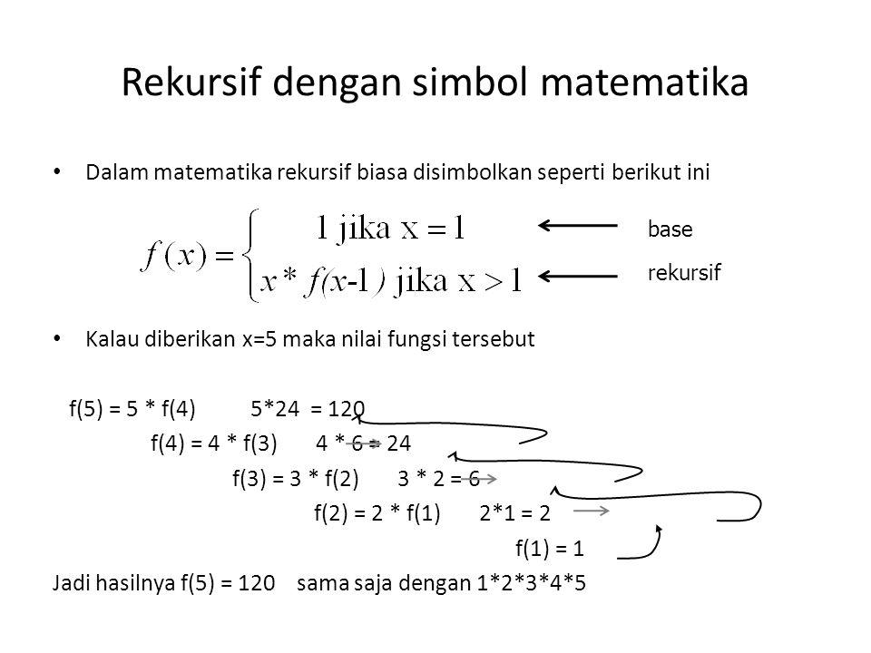 Rekursif dengan simbol matematika