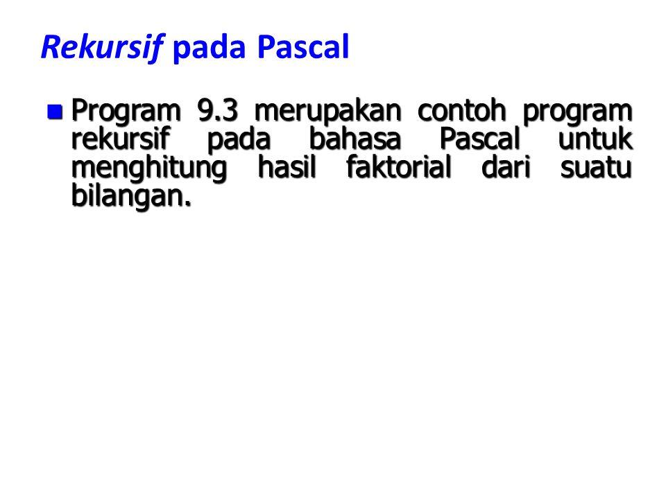 Rekursif pada Pascal Program 9.3 merupakan contoh program rekursif pada bahasa Pascal untuk menghitung hasil faktorial dari suatu bilangan.