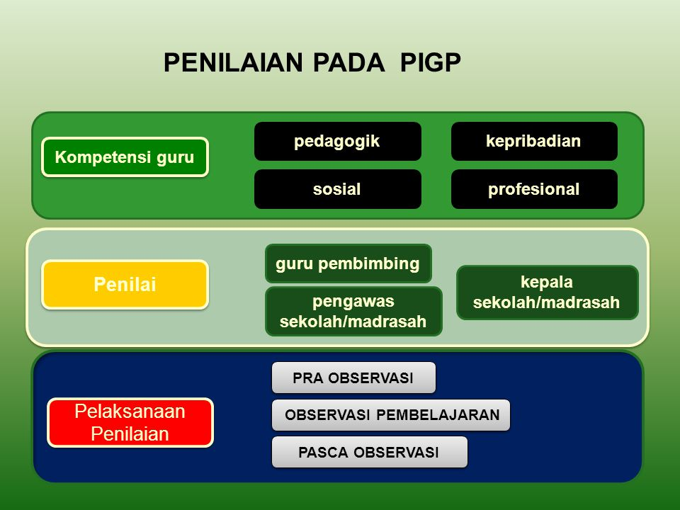 PENILAIAN PADA PIGP Penilai Pelaksanaan Penilaian pedagogik
