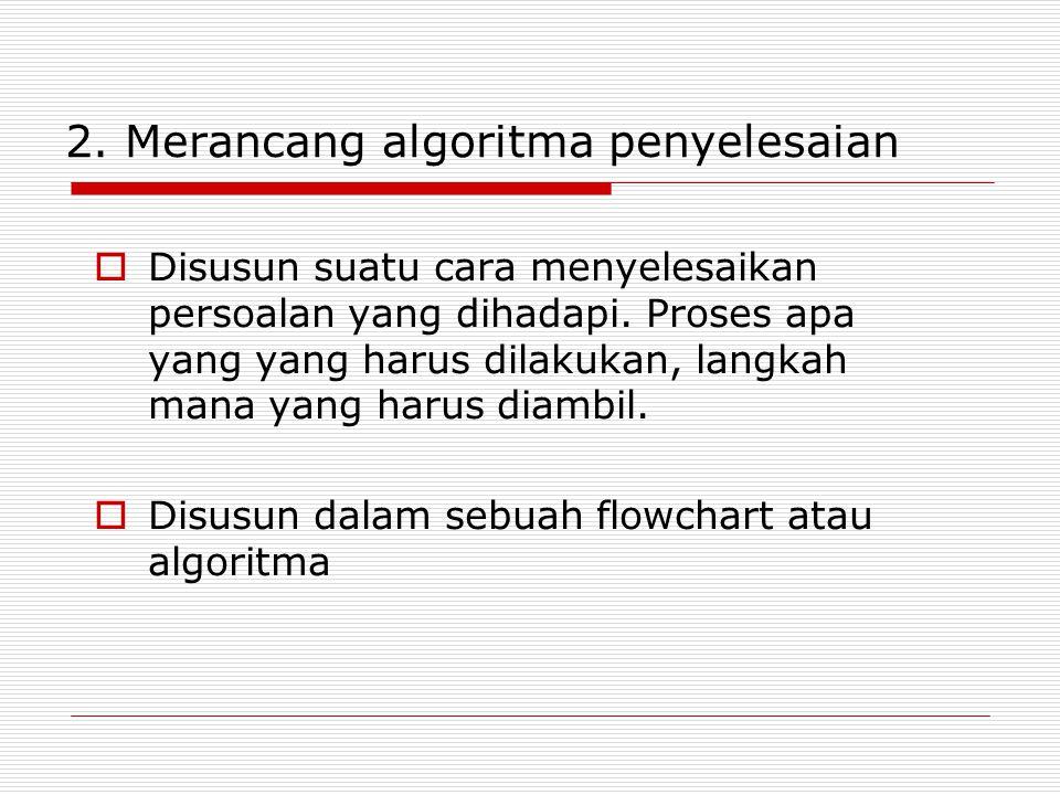 2. Merancang algoritma penyelesaian