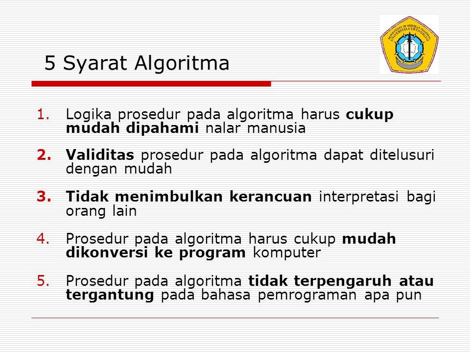 5 Syarat Algoritma Logika prosedur pada algoritma harus cukup mudah dipahami nalar manusia.