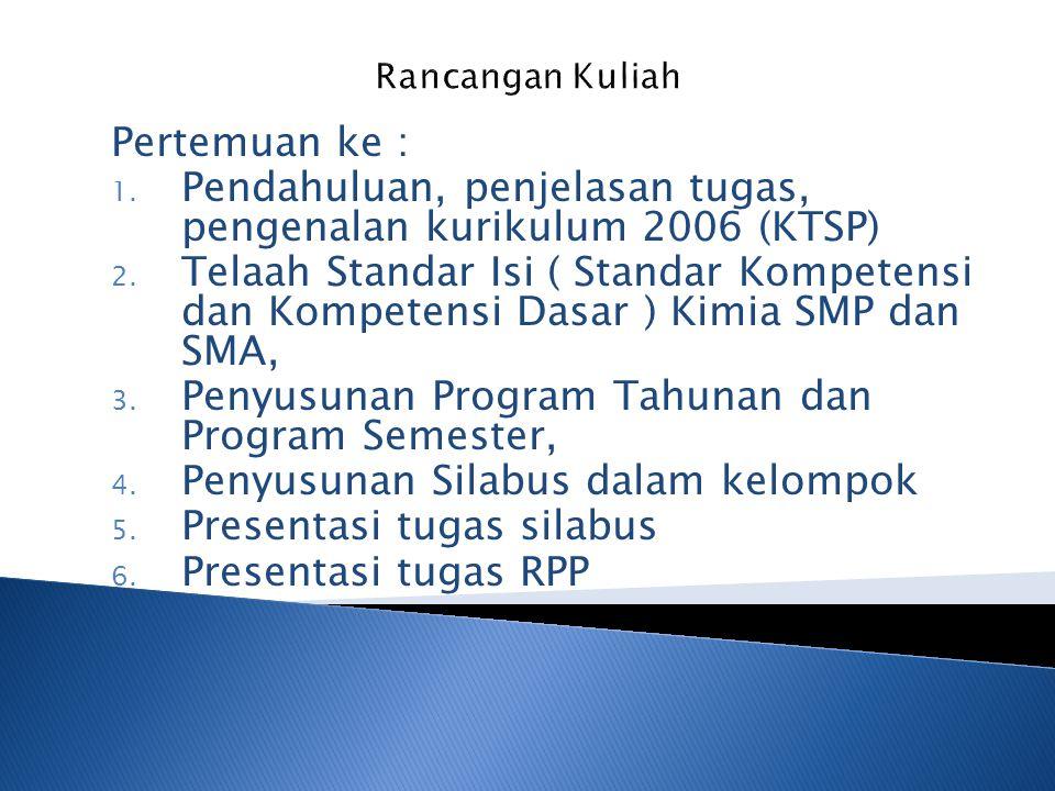Pendahuluan, penjelasan tugas, pengenalan kurikulum 2006 (KTSP)