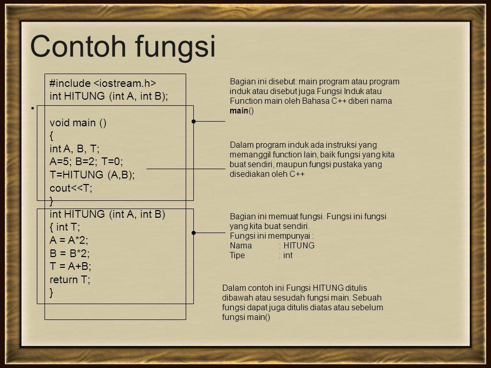 Contoh fungsi . #include <iostream.h> int HITUNG (int A, int B);