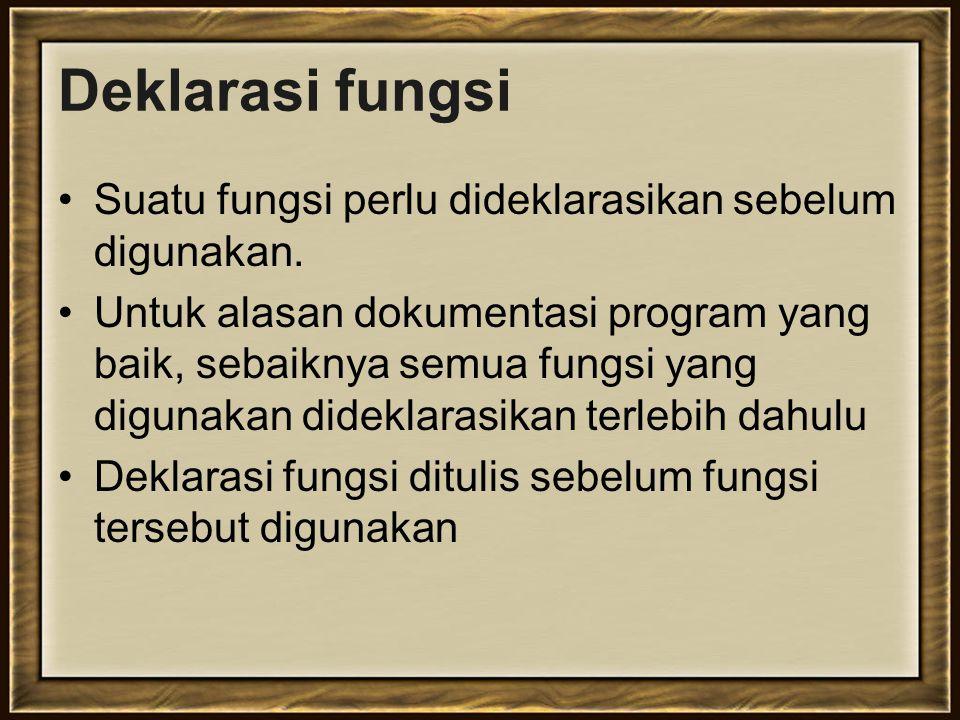 Deklarasi fungsi Suatu fungsi perlu dideklarasikan sebelum digunakan.