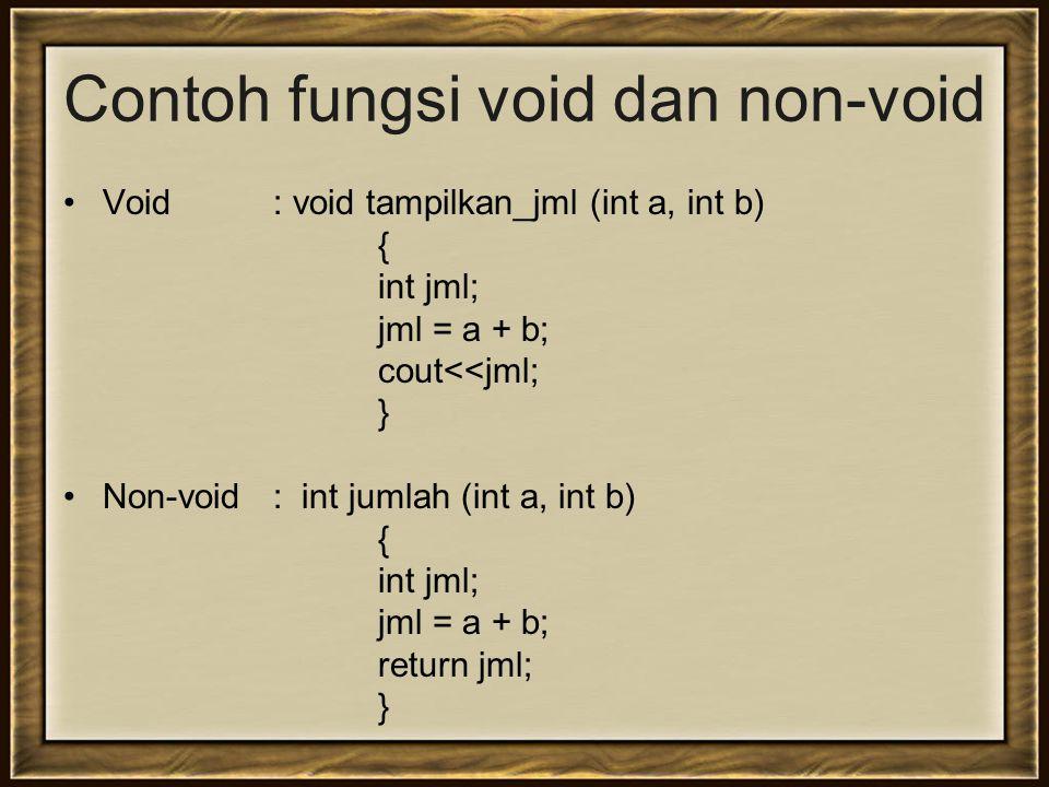 Contoh fungsi void dan non-void