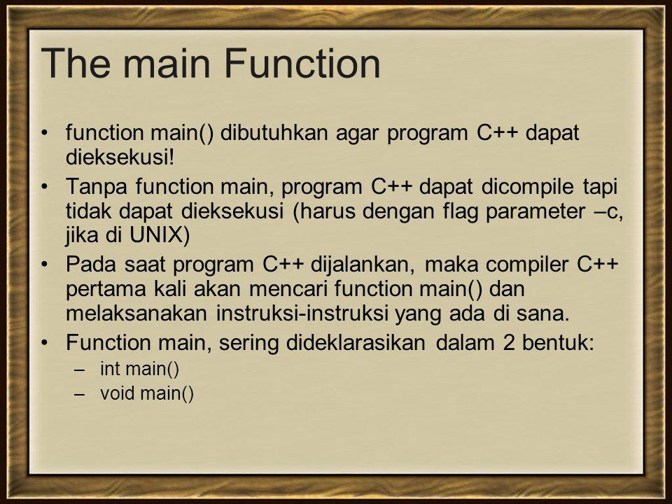 The main Function function main() dibutuhkan agar program C++ dapat dieksekusi!