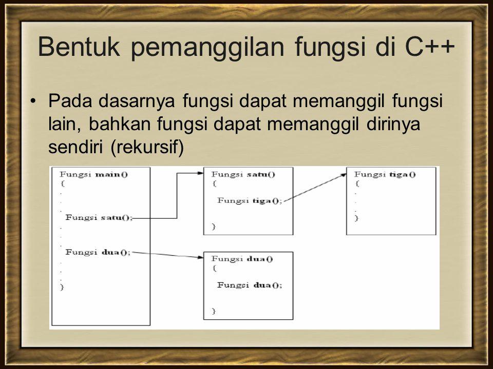 Bentuk pemanggilan fungsi di C++