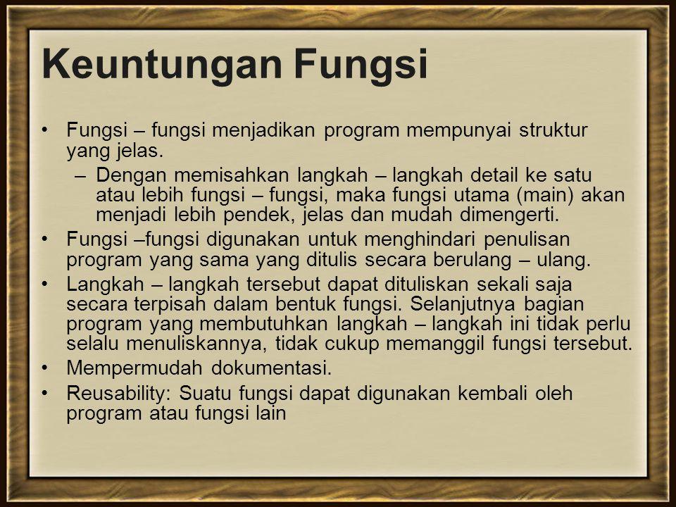 Keuntungan Fungsi Fungsi – fungsi menjadikan program mempunyai struktur yang jelas.