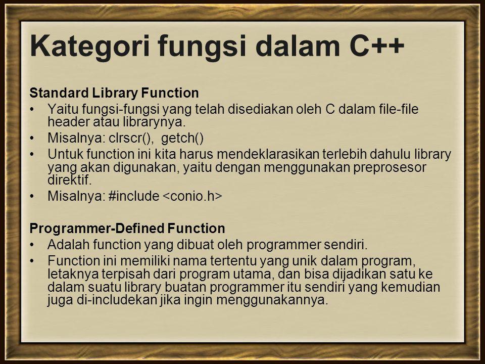 Kategori fungsi dalam C++