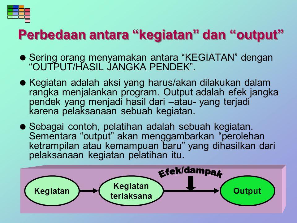 Perbedaan antara kegiatan dan output