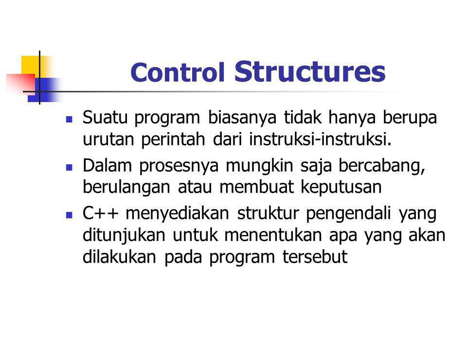 Control Structures Suatu program biasanya tidak hanya berupa urutan perintah dari instruksi-instruksi.
