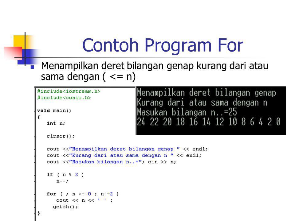 Contoh Program For Menampilkan deret bilangan genap kurang dari atau sama dengan ( <= n)