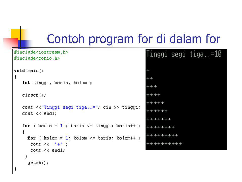 Contoh program for di dalam for