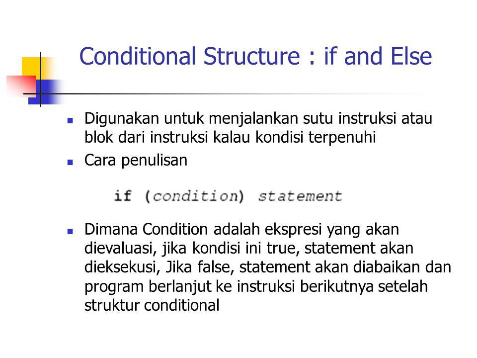 Conditional Structure : if and Else