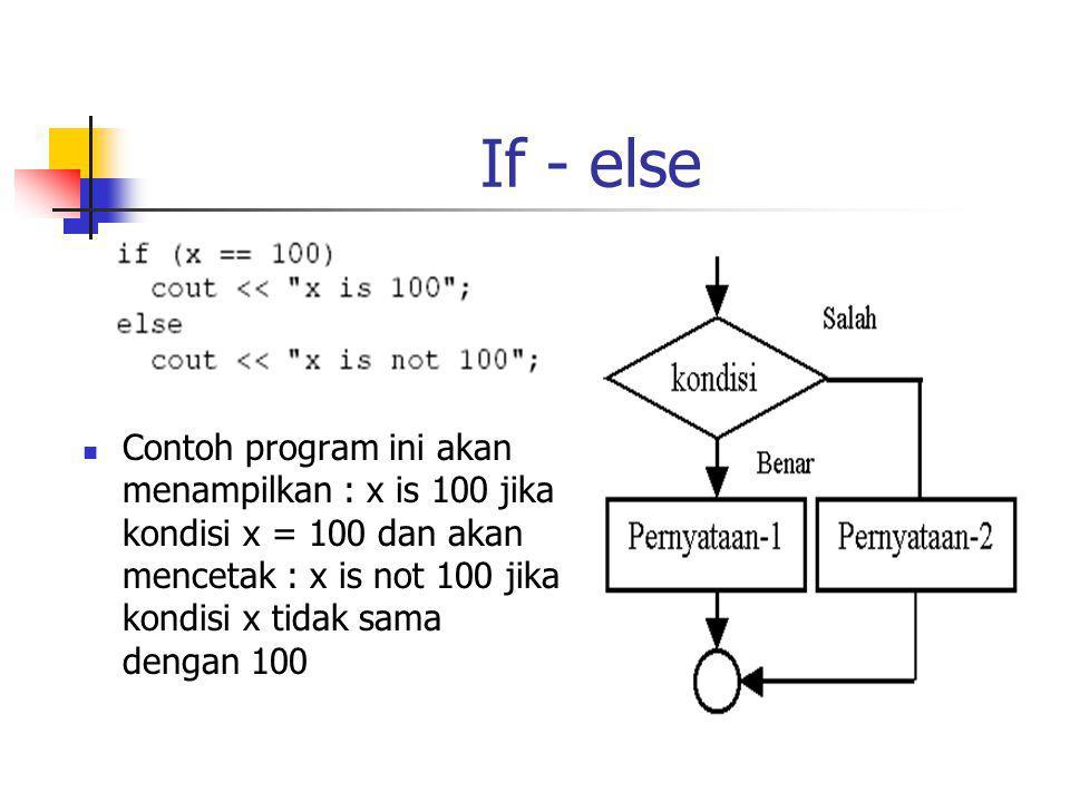 If - else Contoh program ini akan menampilkan : x is 100 jika kondisi x = 100 dan akan mencetak : x is not 100 jika kondisi x tidak sama dengan 100.