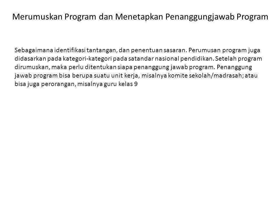 Merumuskan Program dan Menetapkan Penanggungjawab Program