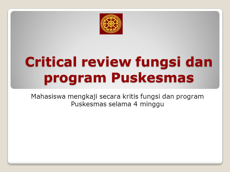 Critical review fungsi dan program Puskesmas