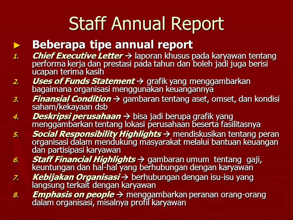 Staff Annual Report Beberapa tipe annual report