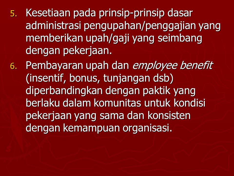 Kesetiaan pada prinsip-prinsip dasar administrasi pengupahan/penggajian yang memberikan upah/gaji yang seimbang dengan pekerjaan.