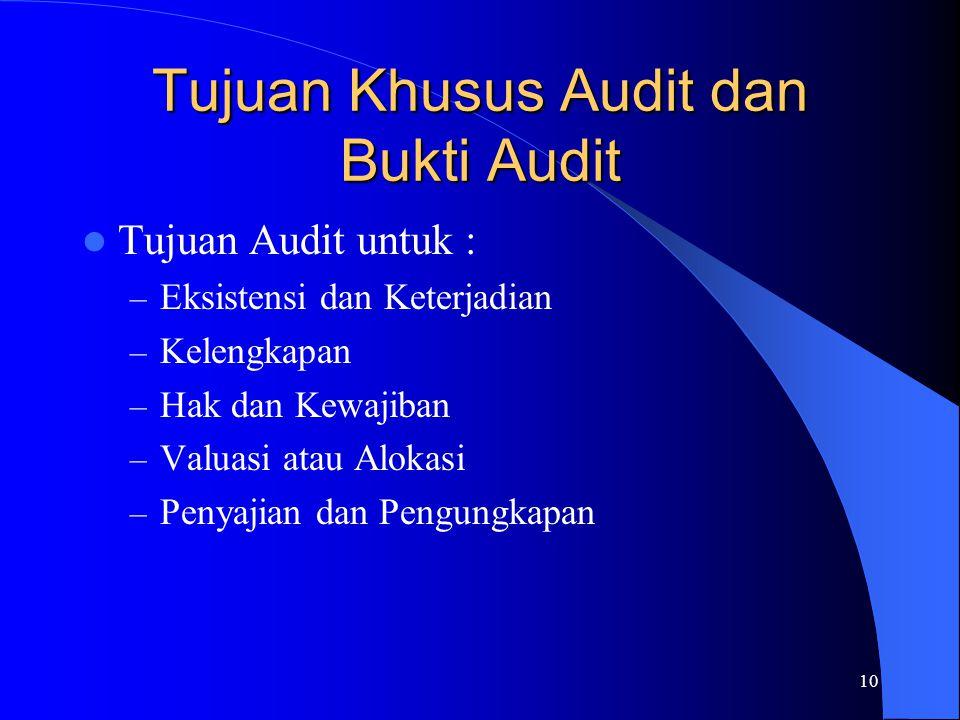 Tujuan Khusus Audit dan Bukti Audit