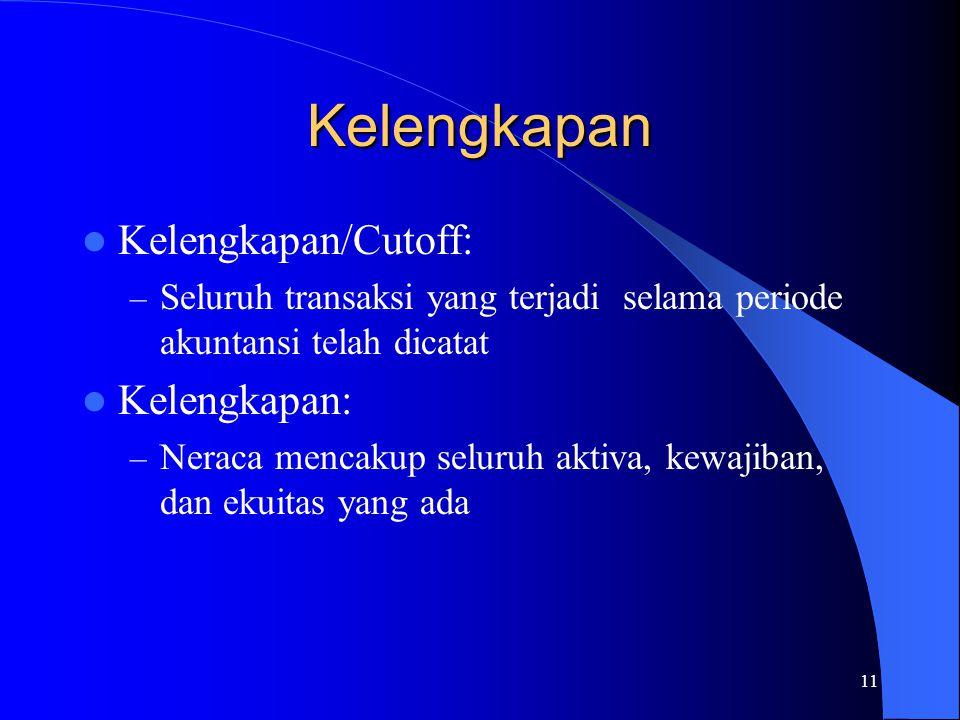 Kelengkapan Kelengkapan/Cutoff: Kelengkapan: