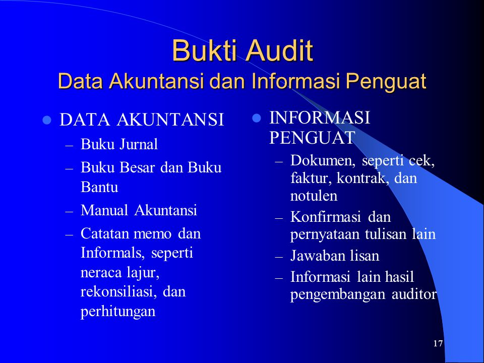 Bukti Audit Data Akuntansi dan Informasi Penguat