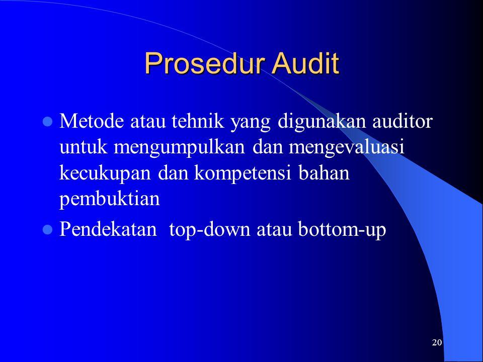 Prosedur Audit Metode atau tehnik yang digunakan auditor untuk mengumpulkan dan mengevaluasi kecukupan dan kompetensi bahan pembuktian.